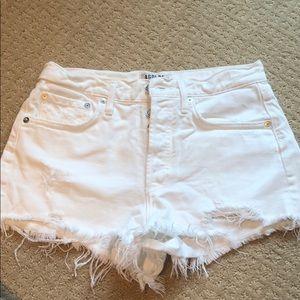 Agolde white jean shorts
